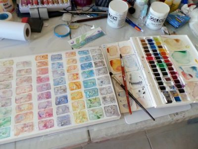 Watercolour practice swatches