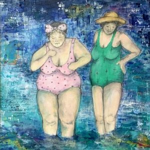 Acrylic painting of ladies at the beach