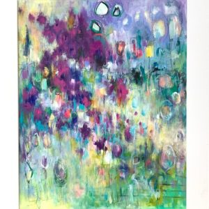Abstract acrylic floral painting