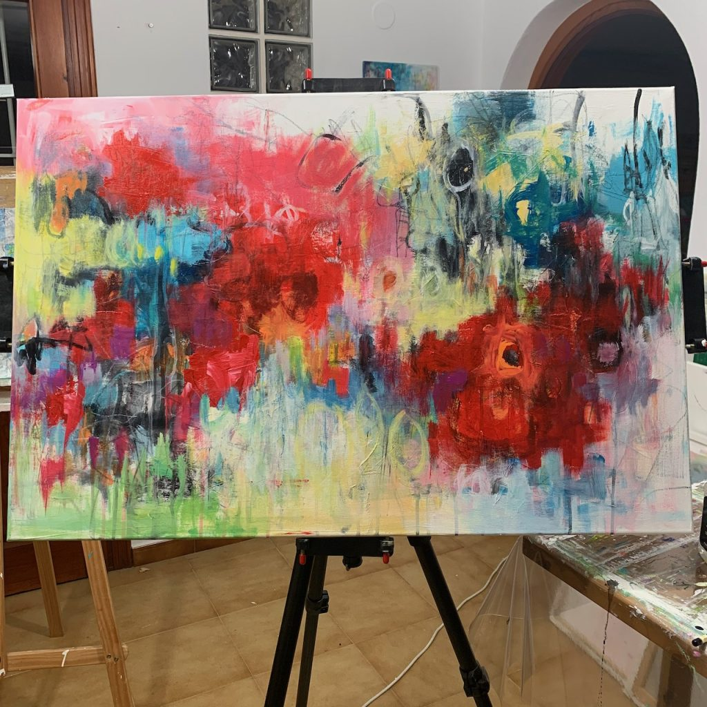 Progress of Colour Me Happy abstract floral painting on my easel