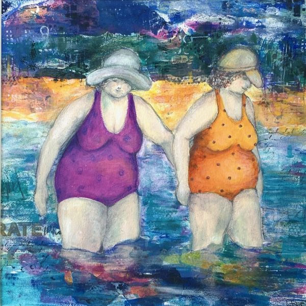 Beach Babes lady bathers acrylic art