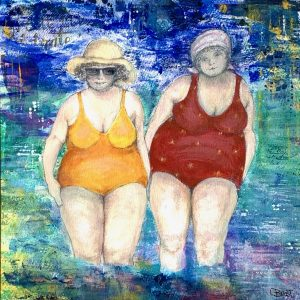 Beach Babes lady bathers artwork