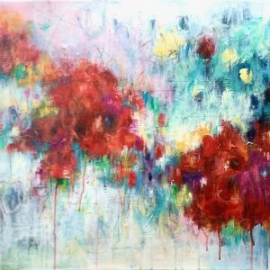 Bold abstract floral painting