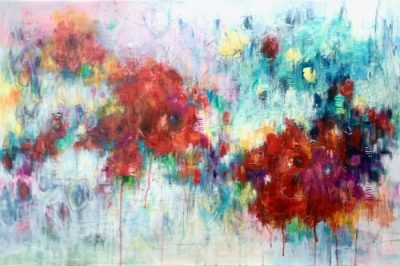 Bold acrylic abstract floral painting
