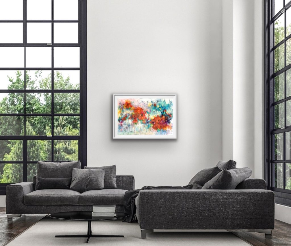 Colour Me Happy abstract floral painting in a room setting