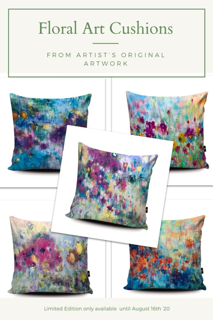 Floral artwork cushions