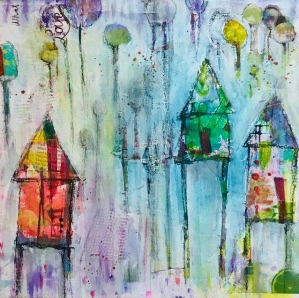 Whimsical houses acrylic art