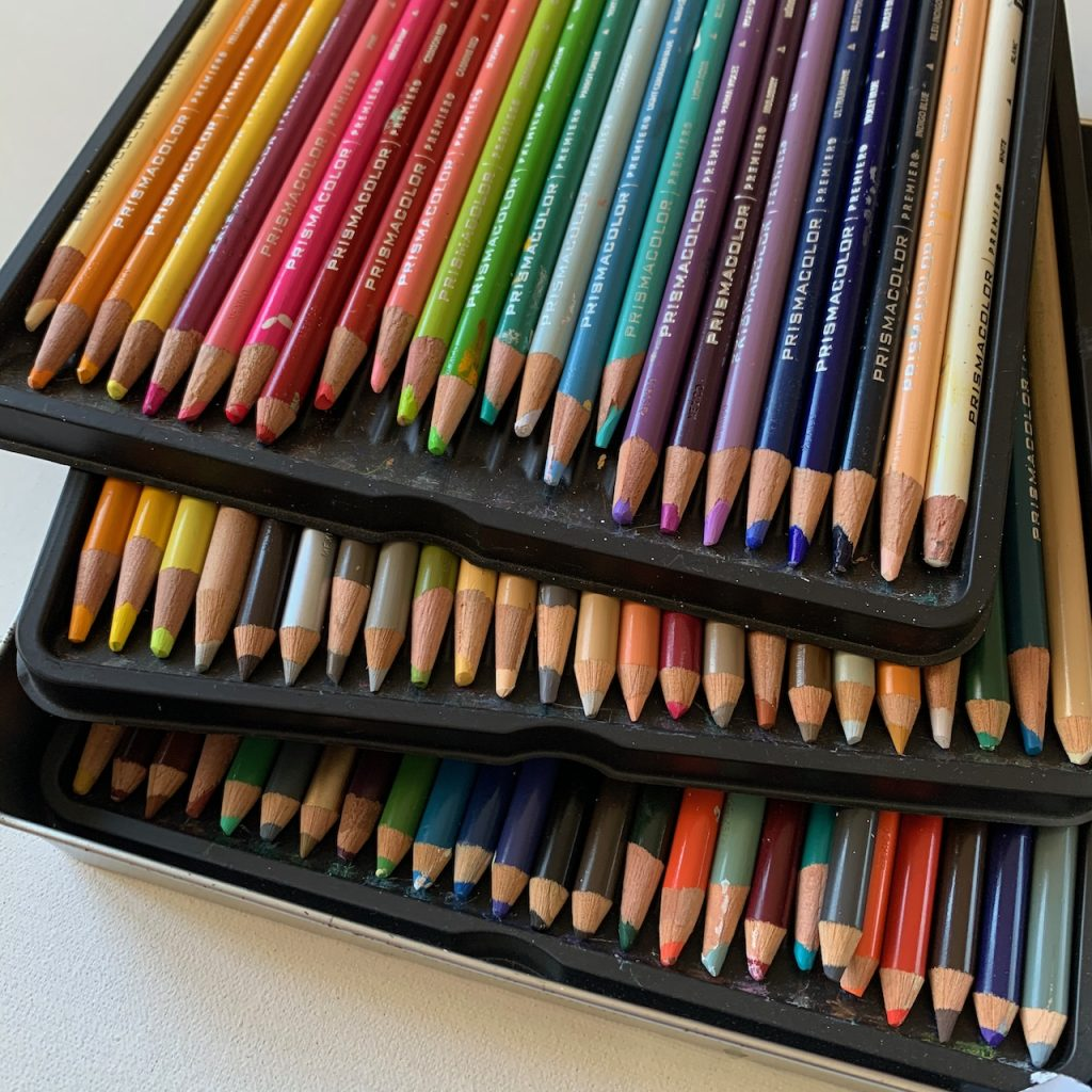 Prismacolor Premier colour pencils ordered into size of most used.