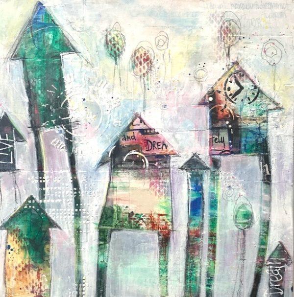 Whimsical houses acrylic art on canvas