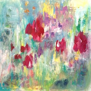 abstract floral painting on wood panel