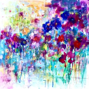 acrylic abstract floral painting