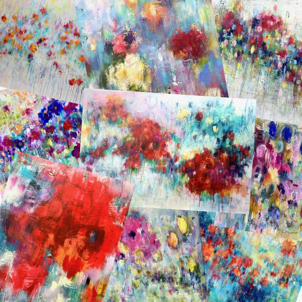 Montage of contemporary abstract floral paintings