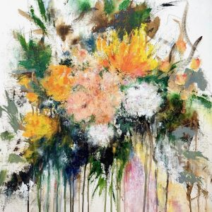 Abstract floral painting on canvas board