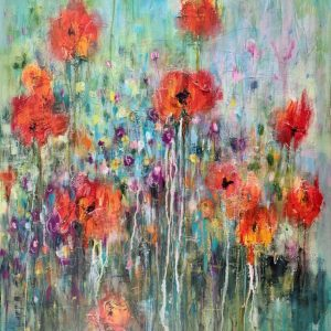 abstract floral painting on canvas