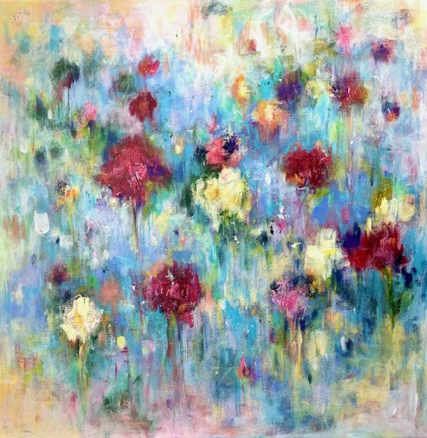 Acrylic abstract floral painting on canvas