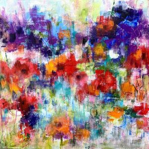 Acrylic abstract floral painting on canvas board