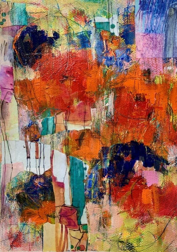 abstract floral painting on paper